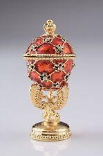 Red Mini Egg & carriage Trinket Box Handmade by Keren Kopal Austrian  Crystals