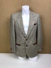 "Vintage Valentino Uomo Leather Tweed Like Blazer 38"" Check Beige Blue Red A13"