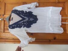 New KLASS size S white blue applique trim long TOP drawcord drop waist frill sle