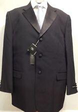 NWT Black Classic-Fit Formal Tuxedo w/Satin Notch Lapel & Vest 50 Reg.  (T-20)