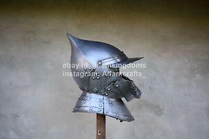 16 Guage Steel Medieval Knight Italian Burgonet Helmet