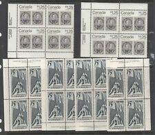 Canada -6 Misscelaneous Plate Blocks - All Mint Never Hinged