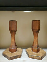 """Vintage Pair of Wood Candle Holders 8"""" X 4 1/2"""" Diagonal Base FAST SHIP"""