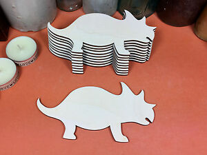 WOODEN TRICERATOPS Shapes 10cm (x10) dinosaur wood cutouts crafts blank shape