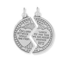 Mizpah Coin Pendant Sterling Silver 2 Part Charm Miz Pah