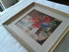 Antique Christmas Art Print or Watercolor Painting Framed Art Poinsettia