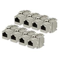 8 Pack, 180 Degree Cat 6A RJ45 Ethernet Cable Keystone Jacks Metal Shielded