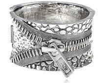 Vintage Chunky Vogue Silver-tone Zipper Buckle Vogue Bracelet Bangle Cuff Band