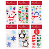 Set of 6 x Christmas Xmas Rectangle Window Gel Jelly Stickers Decals Decorations