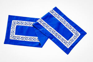 Blue Embroidered Cotton Table Runner And Table Placemats