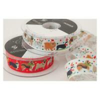 Christmas Ribbon Festive Dogs Red or White Width Size 25mm Various Lengths
