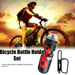 MTB Bike Bicycle 650ml Cycling Outdoor Water Drink Bottle + Holder Cage Rack HOT