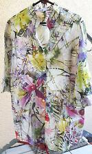 Geblümte hüftlange Kurzarm Damenblusen, - tops & -shirts aus Leinen