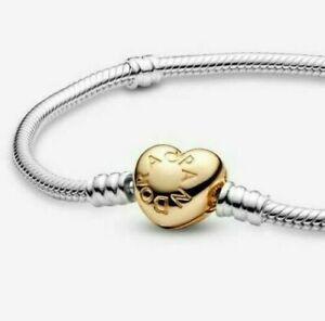 Moments Heart Clasp  Snake Chain Bracelet pandora Sterling Silver 925s - C217