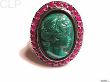 VINTAGE EUROPEAN RUBIES & MALAQUITE STERLING SILVER RING ***STUNNING & RARE ***