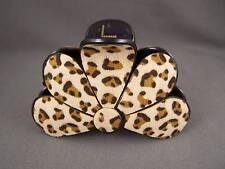 """Tan Cheetah leopard print plastic 3"""" long barrette big hair clip claw clamp"""