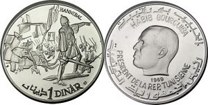 1969 Tunisia Large Silver Proof Hannibal/Elephants
