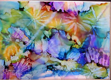 """Original Painting 5x7"""" abstract  sun rays purple green yellow by L Kohler"""