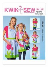 "Kwik Sew SEWING PATTERN K4105 Aprons For Misses,Girls & 18""/46cm Dolls"