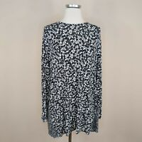 J Jill Wearever Collection Floral Tunic Top Stretch Knit Tie Back L Large Womens
