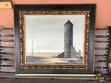 Vintage Original Oil Painting Castle Ruin Landscape Russian Artist NERINA Signed