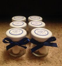 Personalised Miniature Jar Wedding Favours x 60 in any colour theme NO SWEETS