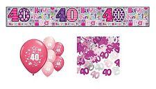 40th BIRTHDAY PARTY PACK DECORATIONS BANNER BALLOONS CONFETTI (SE.P.3)