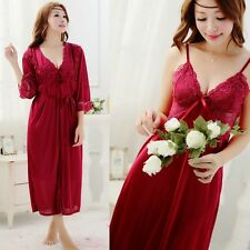Sexy Womens Silk Red Charm Ladies Robes Gown Sleepwear Long Night Underwear New
