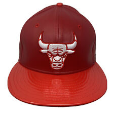 New Era 59Fifty CHICAGO BULLS Glossy Visor Faux Leather Fitted 5950 Cap 7 1/2