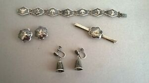 Small Collection of Vintage Silver Niello Siam Jewellery