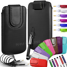 MAGNETIC PU LEATHER PULL FLIP TAB CASE COVER & 3.5MM JACK CABLE FOR LG PHONES