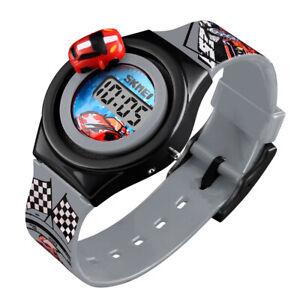 Kids Children Boys Girls Sports Digital Rotating Car Toy Watch Wrist Watches