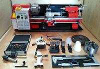 "cj18a Mini-Drehmaschine Rot Packung 4 - BRANDNEU 7x14 Maschine mit Dro & 4 """