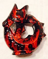 """Mid Century Modern 1950's Red & Black Raised Tail Open Mouth Fish Vase 7"""" Tall"""