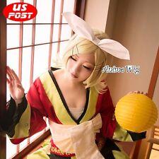 Anime Cosplay Vocaloid Kagamine Rin Short Golden Wavy Halloween Wig + Wig Cap