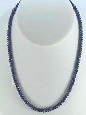 $9,800 14K Yellow Gold 100ct Natural Blue Sapphire Faceted Bead Strand Necklace