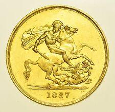 Scarse 1887 Cinque sterline £ 5, British moneta d'oro da Victoria Gef