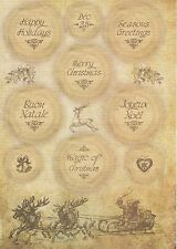 Rice Paper for Decoupage Decopatch Scrapbook Craft Sheet Christmas Greetings