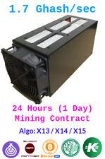 Baikal Miner Giant  1.7 GHash/sec Guaranteed 1 Days Mining Contract x13/x14/x15