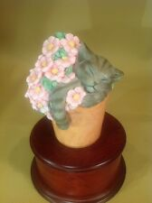 "Lenox ""Pretty In Pink"" Porcelain Cat grey sleeping Figurine in pot with flowers"