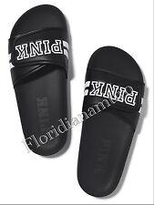 New Victorias Secret PINK Black Slides Slippers Flip Flops Sandal Big L 9-10 NIP