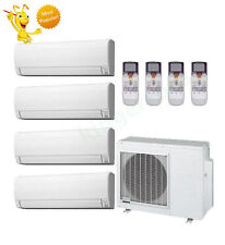 7k + 7k + 9k + 12k Btu Fujitsu Quad Zone Ductless Wall Mount Heat Pump AC