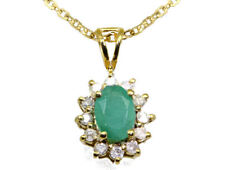 1.14ct Emerald & Diamond Necklace in 18K & 14K Yellow Gold