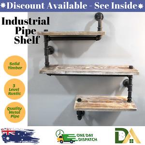 Rustic Industrial DIY Floating Pipe Shelf Snake Design Decor Wall Office Bedroom