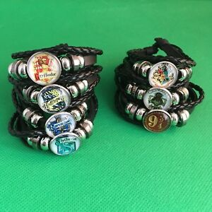 Harry Potter - Leather Woven Bracelet Bangal Hogwarts Gryffindor Gringotts - NEW