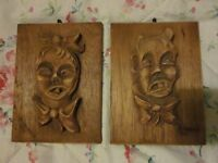 "A Pair of WW2 ""Trench Art"" Panels with Carved Grotesque Faces POW 1944 Enscribed"