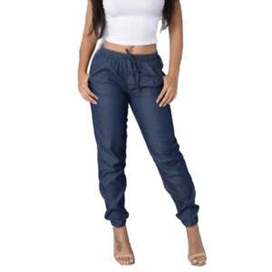 Women High Elastic Waist Trousers Jeans Denim Baggy Loose Long Pants Plus Size