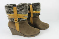 Boots Wedge Heels LES TROPEZIENNES Suede Brown T 38 VERY GOOD CONDITION