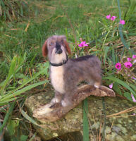 """Wire Haired Dachshund """"Libby"""" - One of a kind, needle felted, dog, sculpture"""