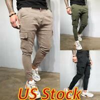 US Mens Slim Fit Tracksuit Cargo Pants Zipper Pocket Workout Joggers Gym Trouser